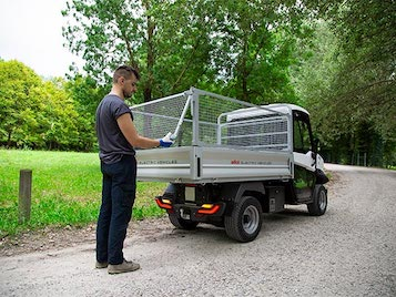 Vehicles With Steel Mesh Sides - Industrial Electric Vehicles