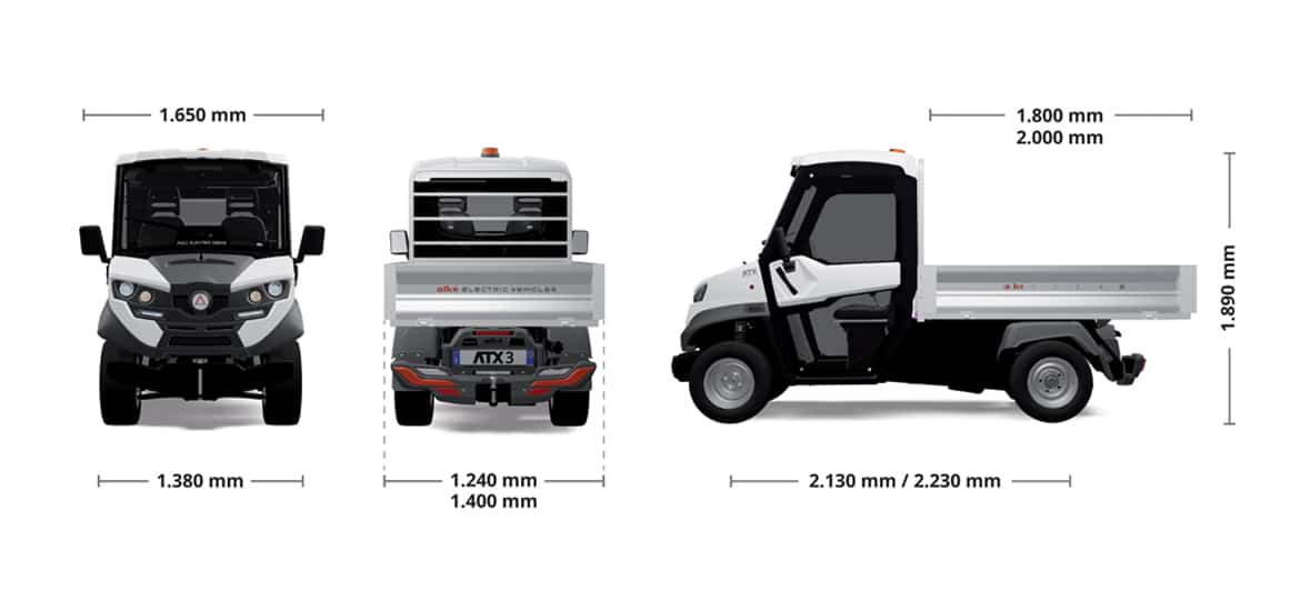 off road electric vehicles alke atx330e dimensions Industrial Electric Vehicles & Accessories