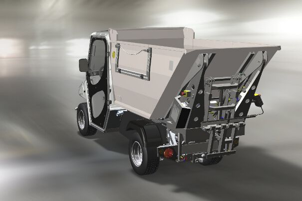 Zero emissions vehicle with waste collection body